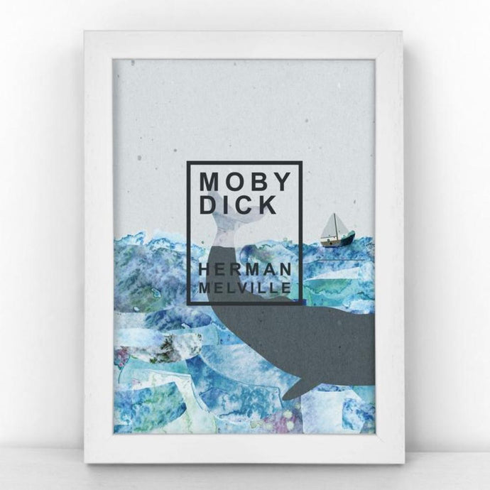 Unframed A5 print featuring a book cover for Herman Melville's novel Moby Dick.
