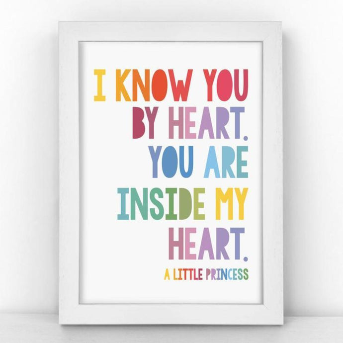A4 unframed print with A Little Princess quote