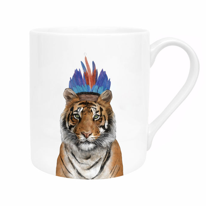 White bone china mug with tiger wearing a blue and red feather headband image