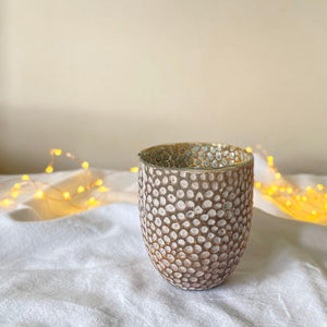 Dimpled glass tealight holder