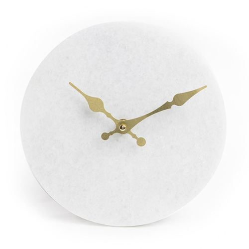 White marble clock with gold hands