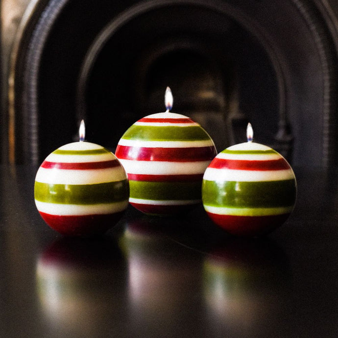 Large Striped Ball Candle - Red, Green and White