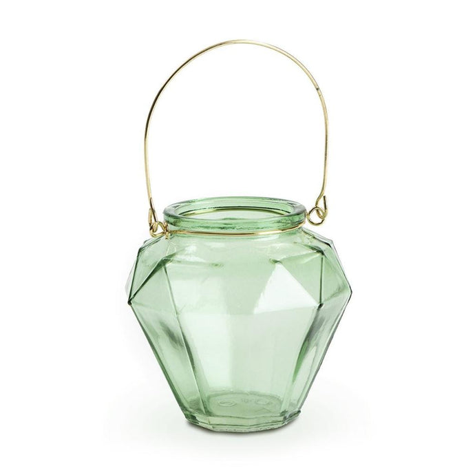 Diamond shaped green tealight holder with slim gold handle