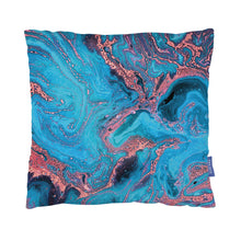 Load image into Gallery viewer, Cushion with blue and pink marbled print