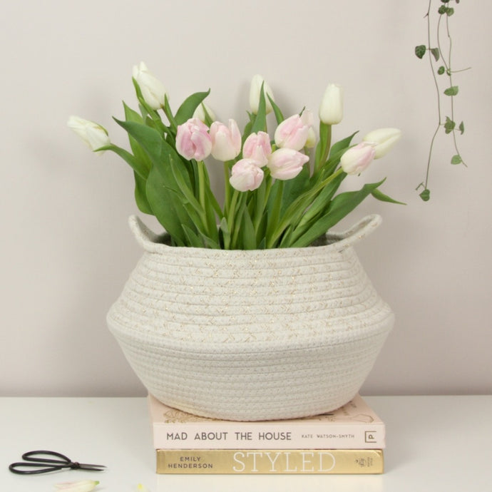 white and cream cotton belly basket with tulips