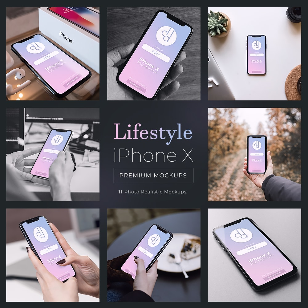 11 iPhone X Lifestyle Mockups PSD