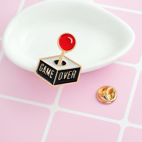 Game Over Joystick Enamel Pin