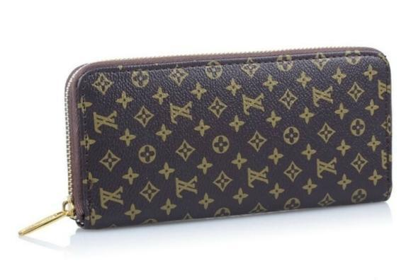 NEW FASHION WOMEN PURES WALLET BROWN LOGO