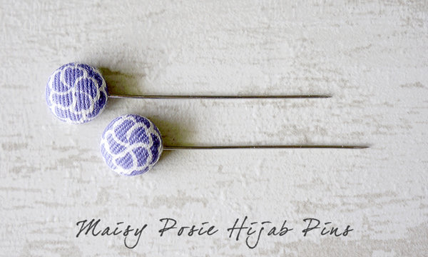 Maisy Posie Handmade Fabric Button Hijab Pins