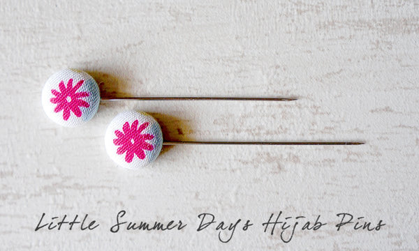 Little Summer Days Handmade Fabric Button Hijab Pins