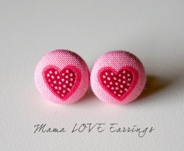 Mama LOVE Handmade Fabric Button Earrings