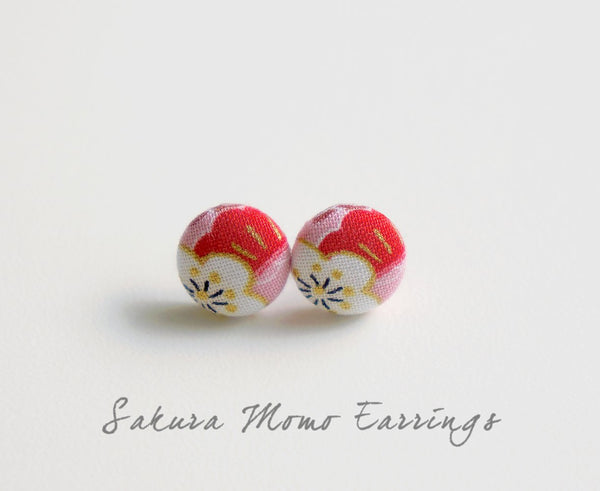 Sakura Momo Handmade Fabric Button Earrings