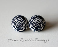 Mama Rosette Handmade Fabric Button Earrings