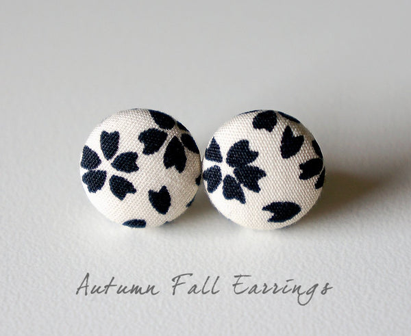 Autumn Fall Handmade Fabric Button Earrings