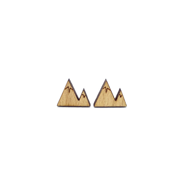 Mini Mountain Laser Cut Wood Earrings