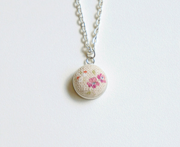 Rose Dew Handmade Fabric Button Necklace