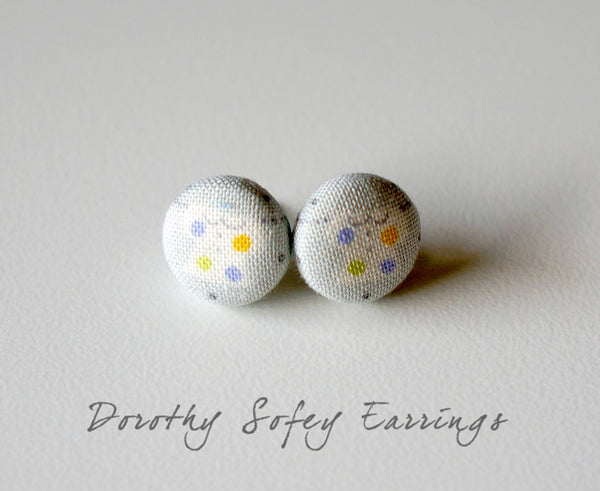 Dorothy Sofey Handmade Fabric Button Earrings