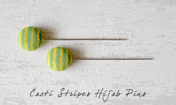 Cacti Stripes Handmade Fabric Button Hijab Pins