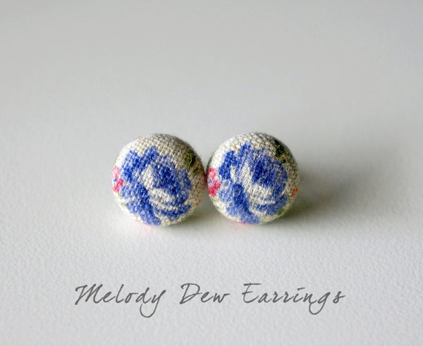 Melody Dew Handmade Fabric Button Earrings