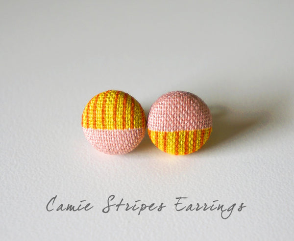 Camie Stripes Handmade Fabric Button Earrings