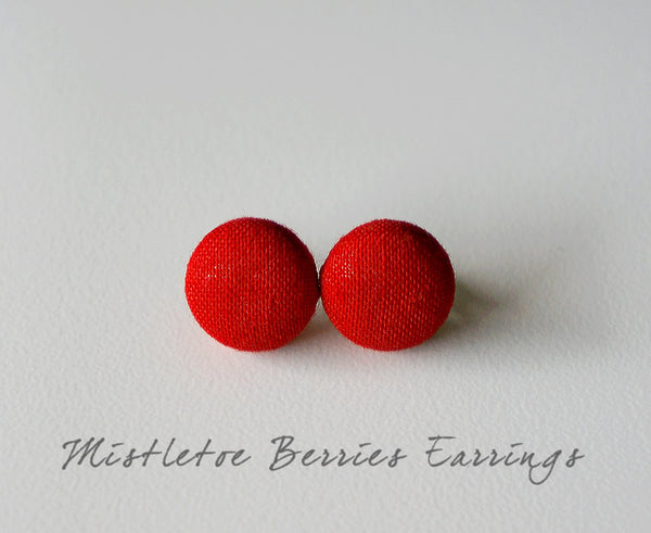 Mistletoe Berries Handmade Fabric Button Earrings