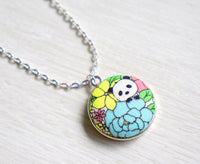 Haruki Panda Handmade Fabric Button Necklace
