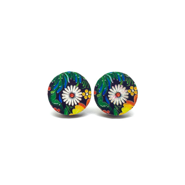 Dark Garden Daisy Wooden Earrings