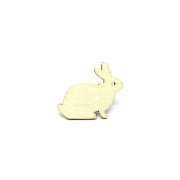 Lovely Rabbit Wooden Brooch Pin