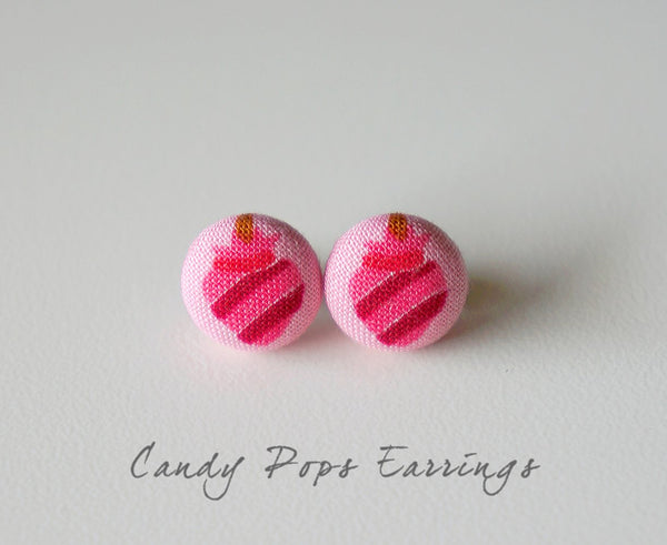 Candy Pops Handmade Fabric Button Earrings