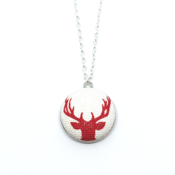 Red Reindeer Handmade Fabric Button Christmas Necklace