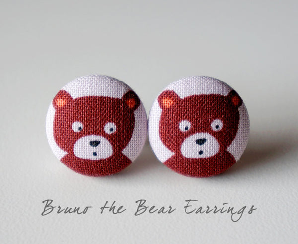 Bruno the Bear Handmade Fabric Button Earrings