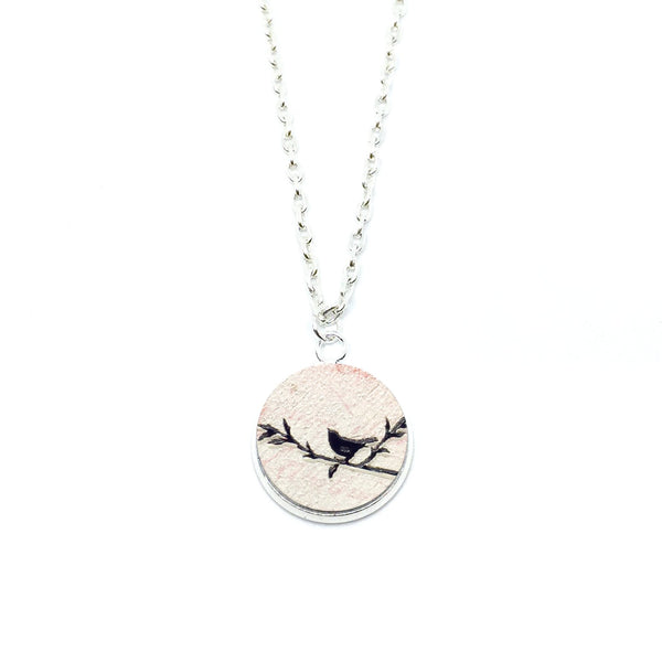 Vintage Love Birds Right Wood Pendant Necklace