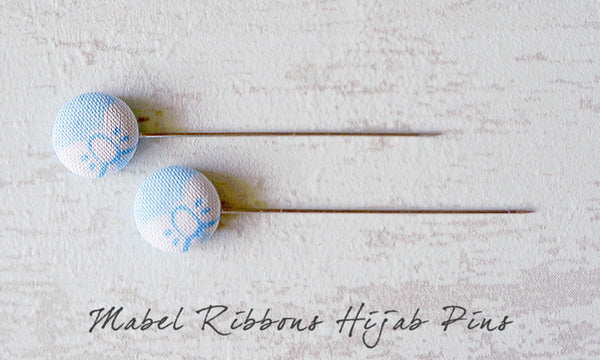 Mabel Ribbons Handmade Fabric Button Hijab Pins