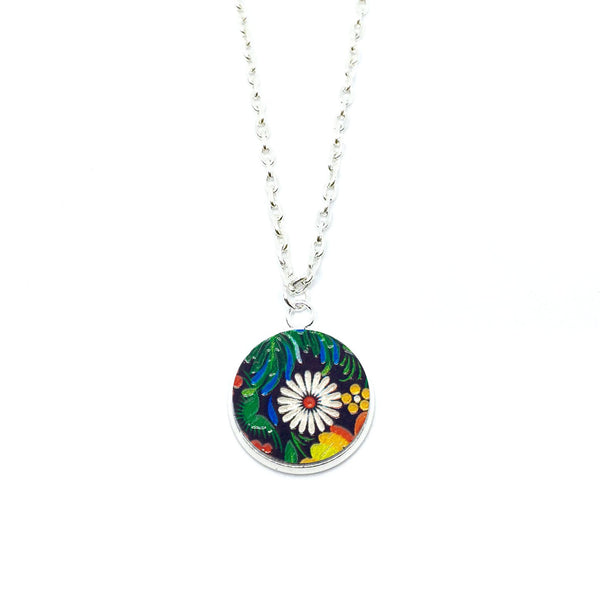 Dark Garden Daisy Wood Pendant Necklace