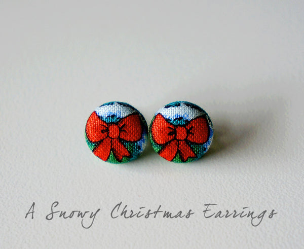A Snowy Christmas Handmade Fabric Button Earrings