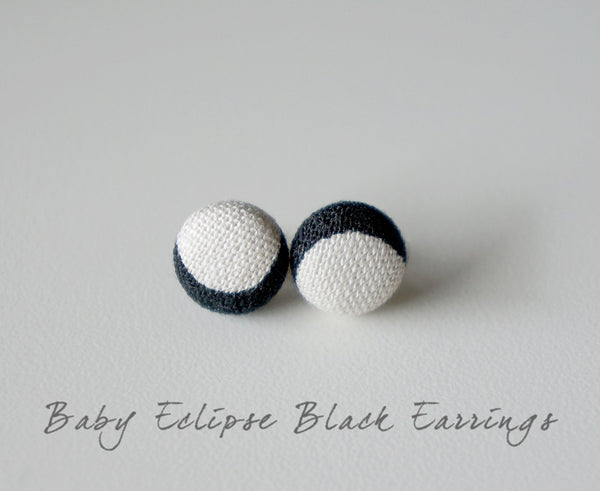 Baby Eclipse Black Handmade Fabric Button Earrings