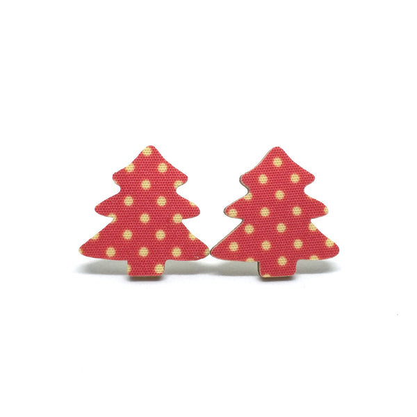 Christmas Tree Handmade Wooden Christmas Earrings