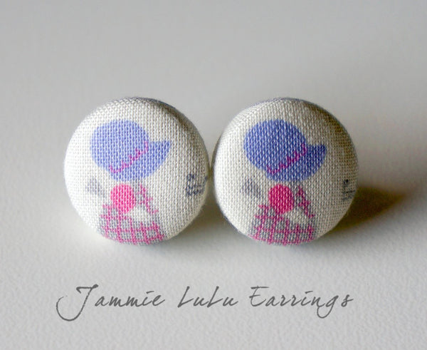 Jammie LuLu Handmade Fabric Button Earrings