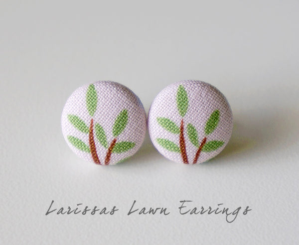 Larissas Lawn Handmade Fabric Button Earrings