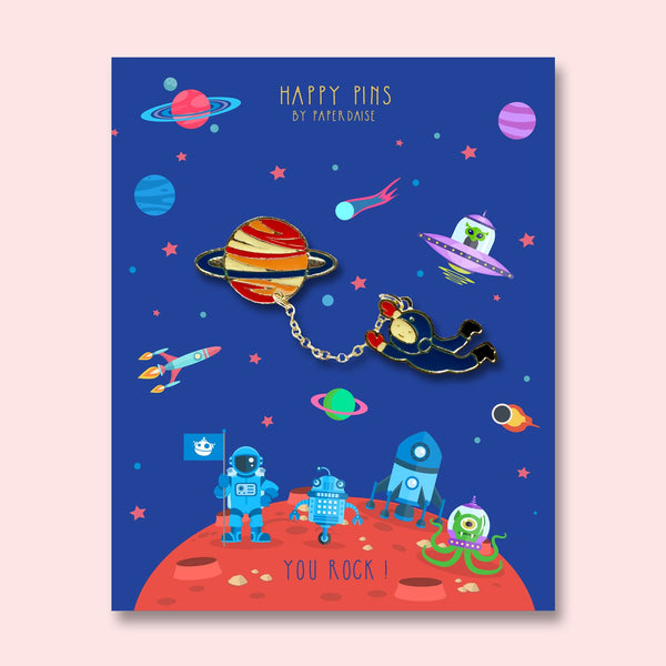 You ROCK Spaceman Planet Enamel Pin
