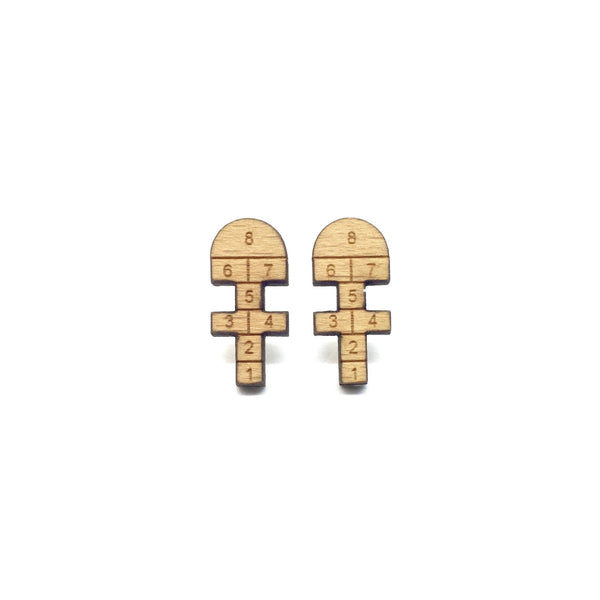 Old School Hopscotch Laser Cut Wood Earrings