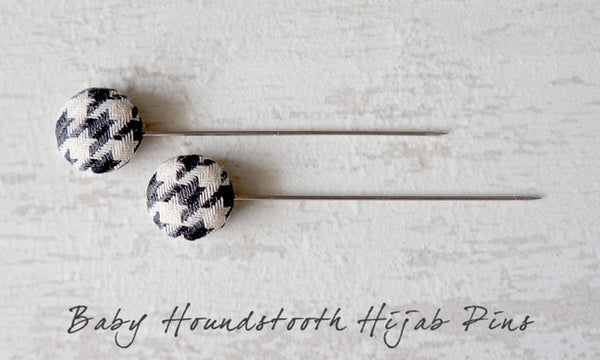 Baby Houndstooth Handmade Fabric Button Hijab Pins