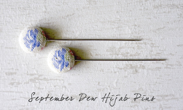 September Dew Handmade Fabric Button Hijab Pins