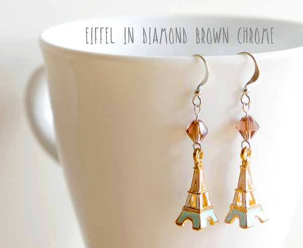 Eiffel Tower Dangle Earrings in Diamond Brown Chrome Couture by Paperdaise