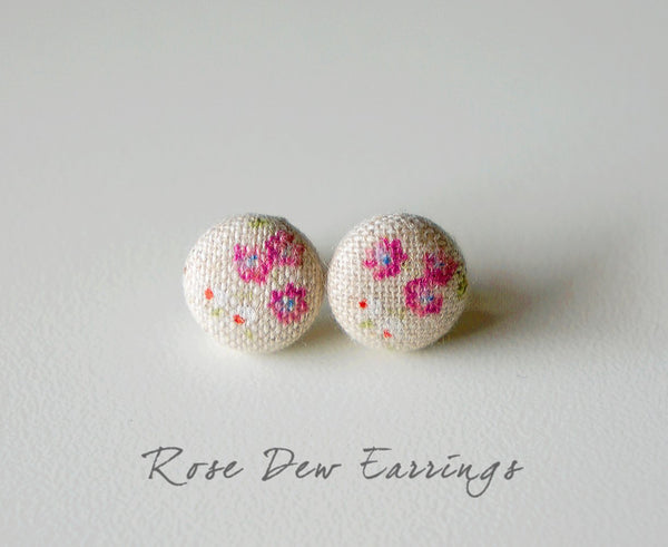Rose Dew Handmade Fabric Button Earrings