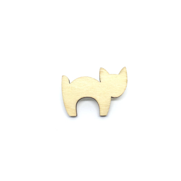 Scaredy Cat Wooden Brooch Pin