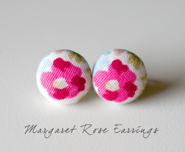 Margaret Rose Handmade Fabric Button Earrings