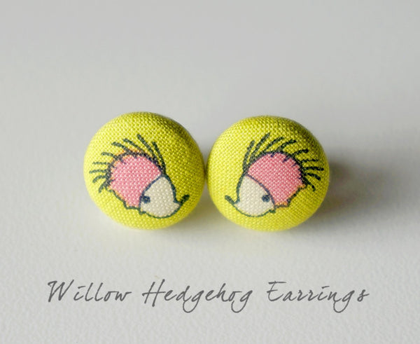 Willow Hedgehog Handmade Fabric Button Earrings