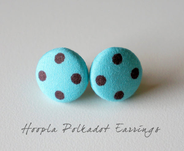Hoopla Polkadot Handmade Fabric Button Earrings