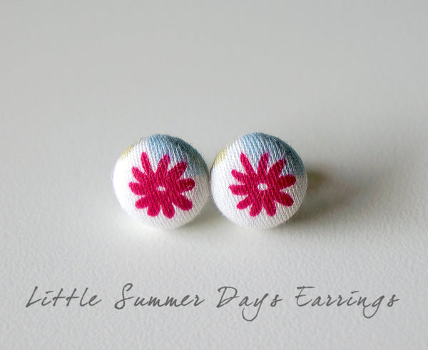 Little Summer Days Handmade Fabric Button Earrings
